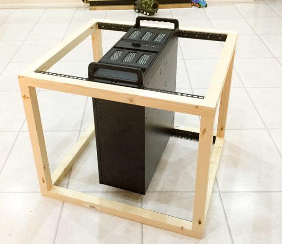 diy construcción rack caso -6 primera prueba