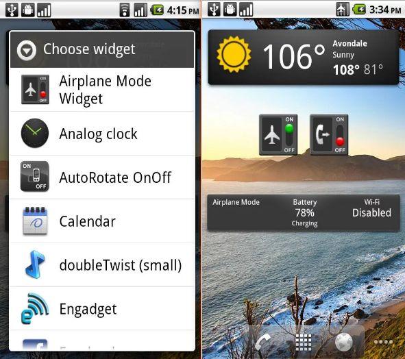 Auto avión El modo de widget Android