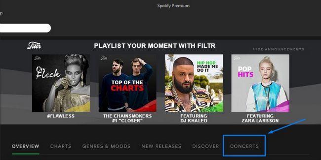 Spotify Conciertos página
