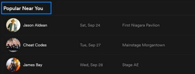 Spotify conciertos populares cerca de usted