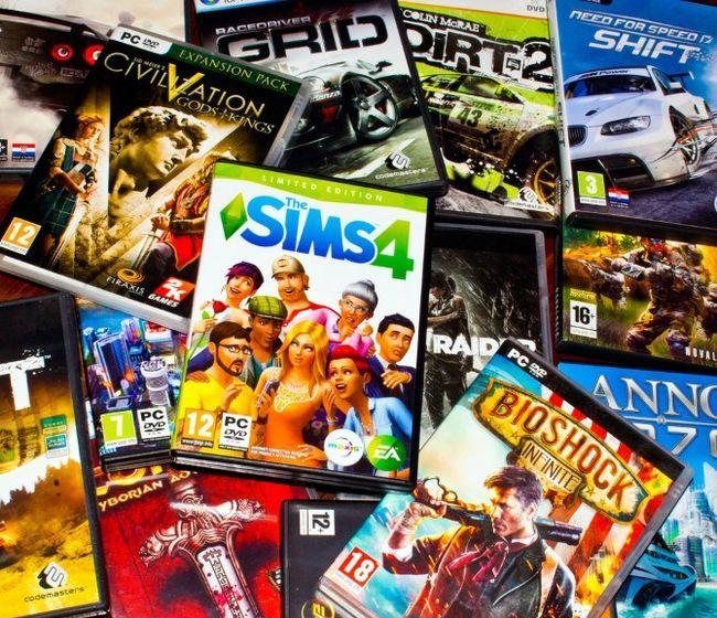 montón de juegos de PC usados