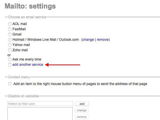 -MailTo-settings extensión de Chrome