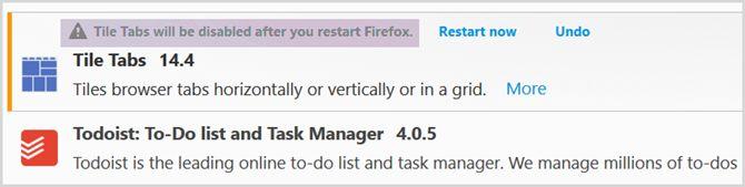 Administrador de extensiones de Firefox