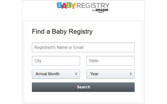 Amazon Search registro del bebé