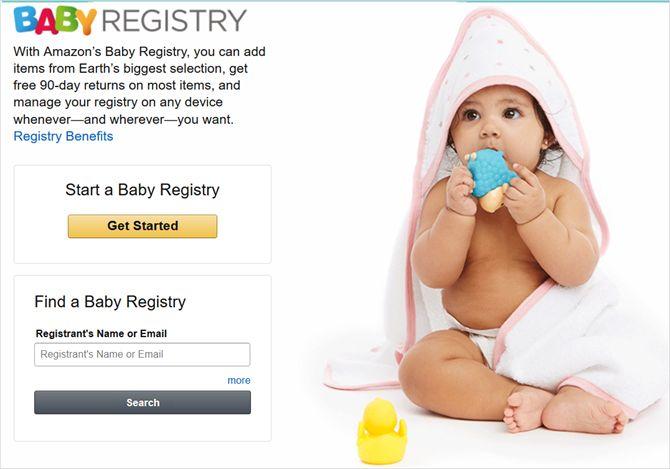 Amazon principal registro del bebé