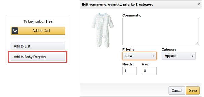 Amazon bebé registro de edición añadida