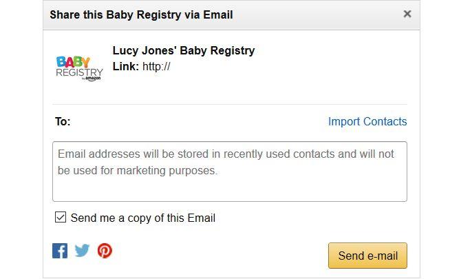 cuadro de cuota de correo electrónico registro del bebé Amazon