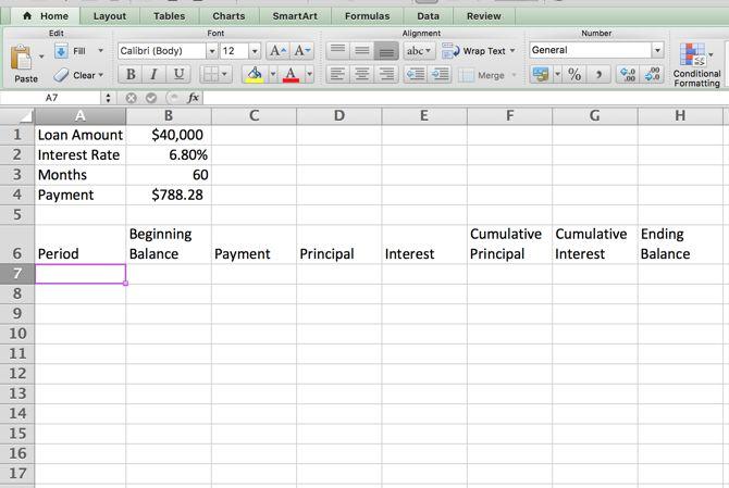 Excel Amortización - Categorías