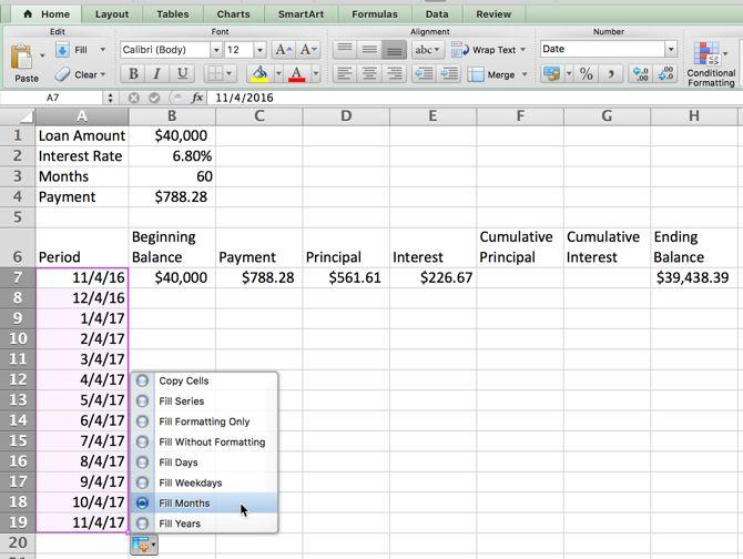 Excel Amortización - Opciones de relleno automático