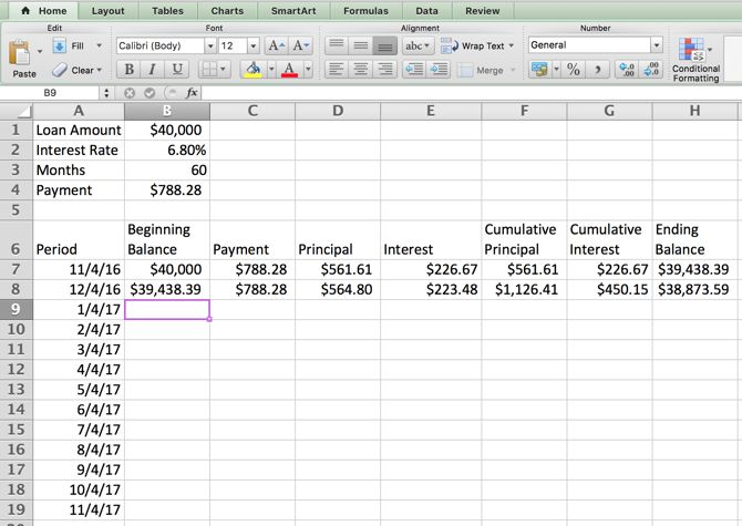 Excel Amortización - Mesa de la segunda fila