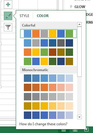 Valores prefijados de color Excel