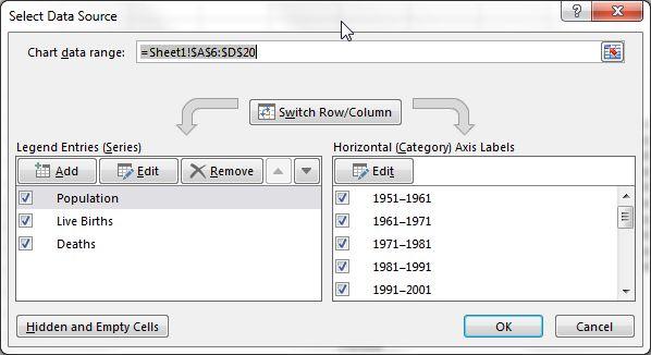 Rango de datos Excel Nombre de la serie de datos