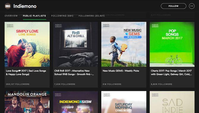 indiemono listas de reproducción de Spotify