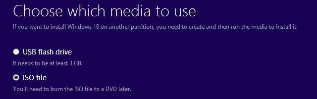 Windows 10 Creación de medios de herramienta ISO