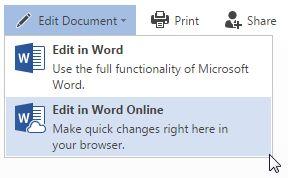edición en línea de Office en Word
