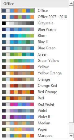 Word 2016 Colores del tema