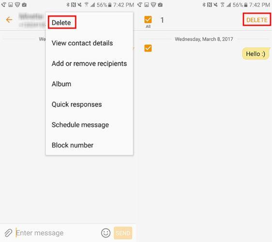 Samsung eliminar varios mensajes de texto
