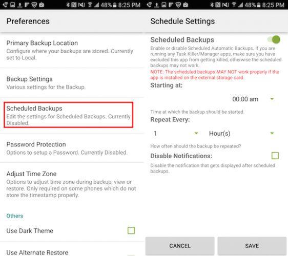 copia de seguridad de SMS restauración programada