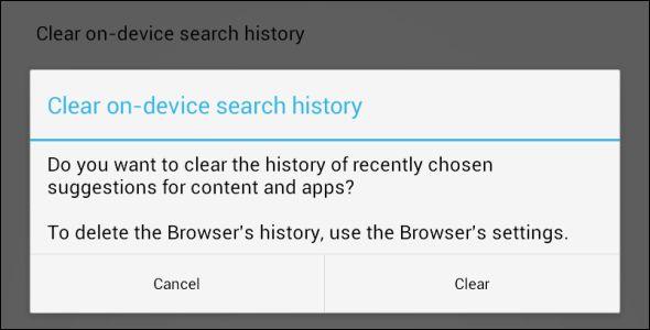 eliminar el historial de búsqueda