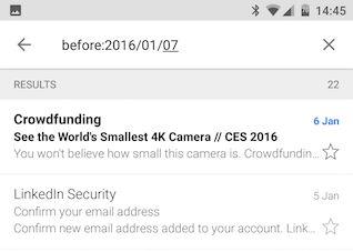 Antes de Android Gmail Buscar palabra clave
