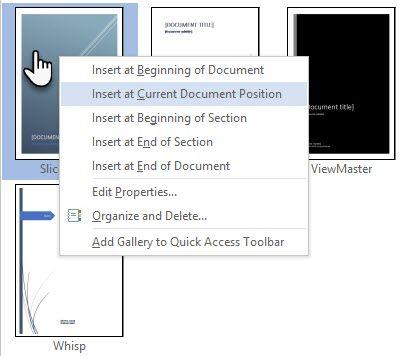 Microsoft Word-portada Posición