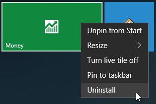 Windows 10 Aplicación de desinstalación