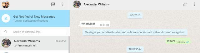 WhatsApp Web de extremo a extremo de cifrado de pantalla