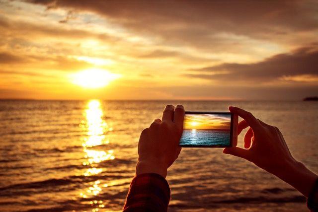 Sunset foto tomada con un teléfono inteligente