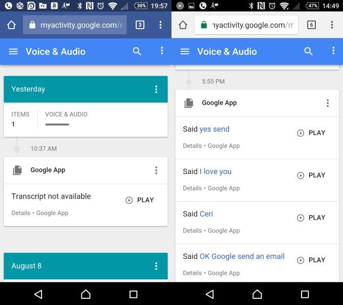OK Google Historia de los comandos de voz de audio