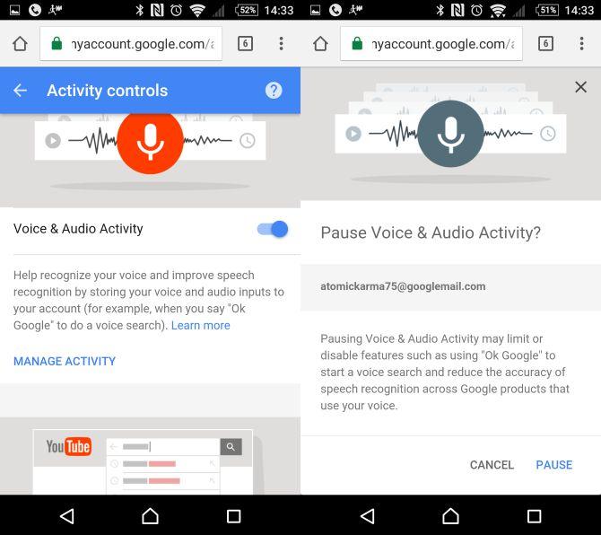 Desactivar la actividad de voz en OK Google Now