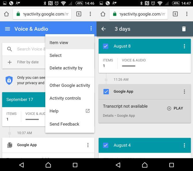 Borrar anteriores grabaciones de voz en OK Google Now