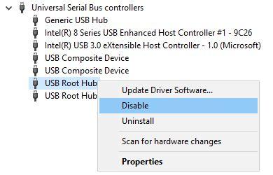 Desactivar el concentrador raíz USB