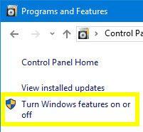 Programas y características - Turn o desactivar las características