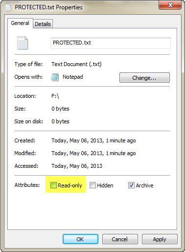 fijar de protección contra escritura unidad USB