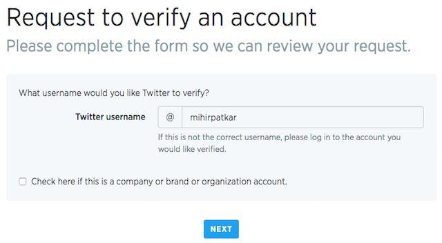 Twitter-cuenta-verificación de petición de forma
