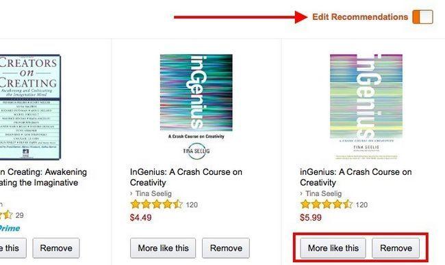 Amazon Editar Recomendaciones