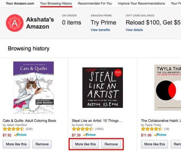Amazon historial de navegación