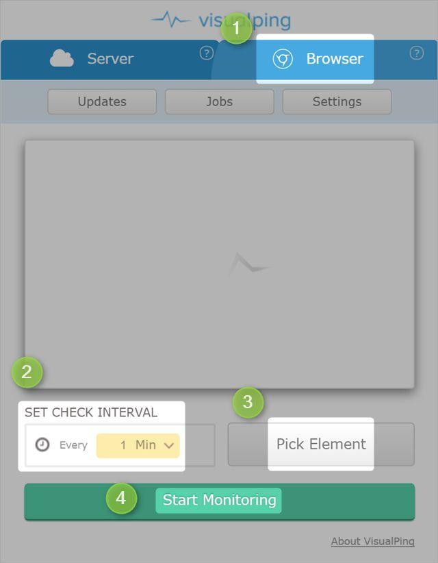 visualping-interfaz de usuario en el navegador