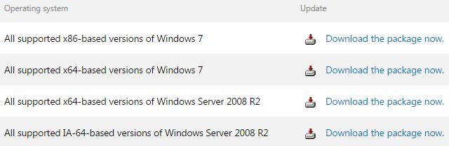 Servicio de Windows apilamiento Actualizar Opciones de Descarga