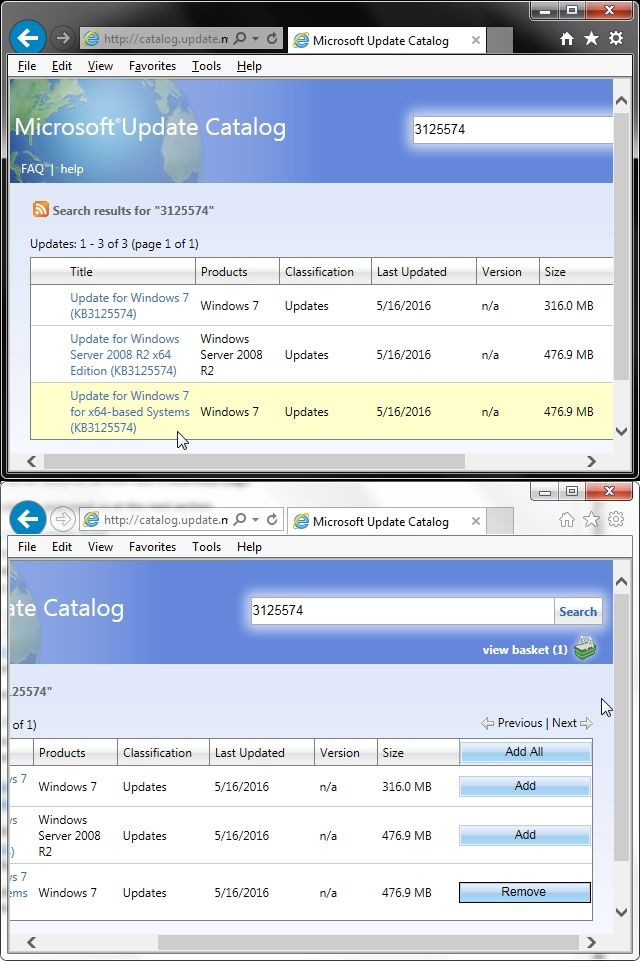 Catálogo de Windows Update