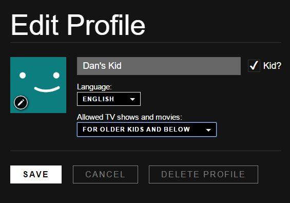 Configuración de los niños en Netflix
