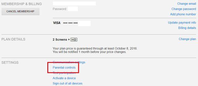 Netflix controles parentales Enlace