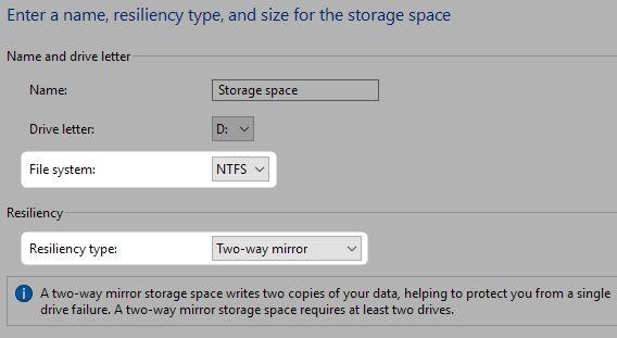 espacios de almacenamiento y sistema de archivos reiliency
