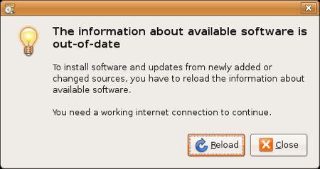recarga de fuentes de software en Ubuntu