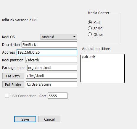 Kodi en el fuego de TV Stick - Configuración adbLink