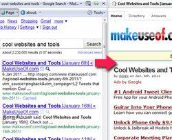 La forma de cargar los resultados de búsqueda de google en un panel de vista previa (en la misma página)