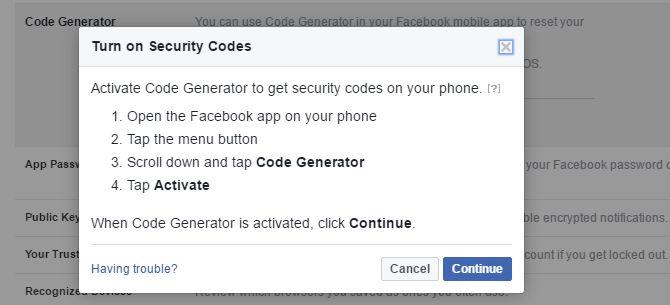 Códigos de seguridad de Facebook