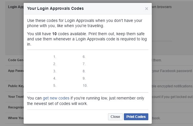 Facebook login Aprobación de códigos