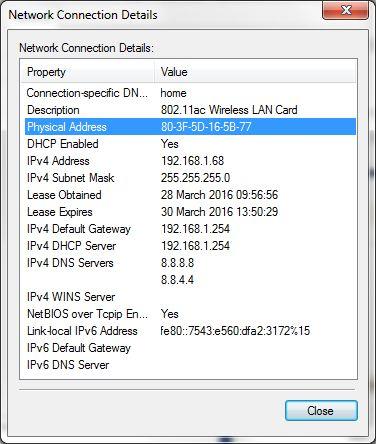 Detalles de conexión de red