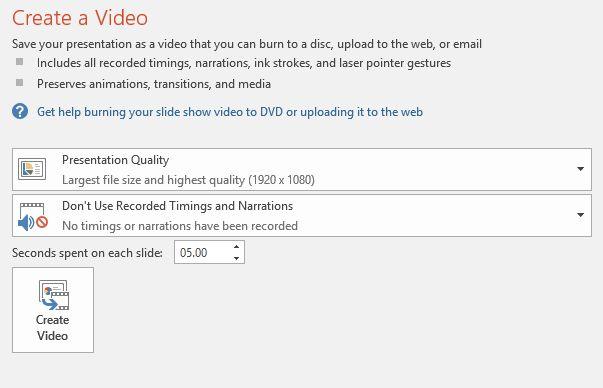 PowerPoint 2016 Exportar como Opciones de vídeo